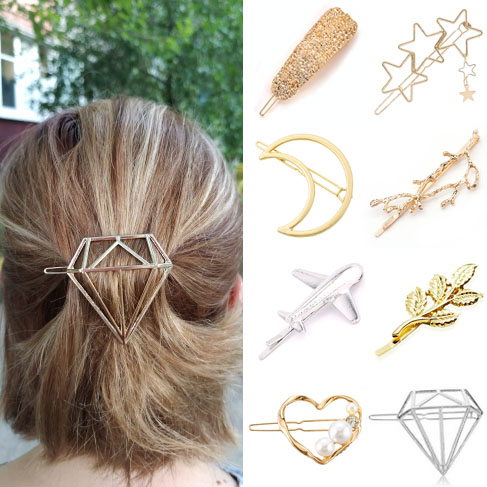 Women Girls Lady Child Hair Clip Headwear Hairwear Fashion Golden Silver Modern Cat Star Starfish Beach Party