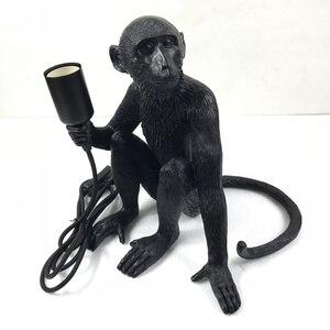 Image 4 - Wongshi現代黒猿麻ロープペンダントライトファッションシンプルなアート北欧レプリカ樹脂selettiぶら下げ猿ランプ