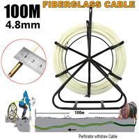 4.8mm 100m Fish Tape Fiberglass Reel Wire Cable Running Rod Duct Rodder Fishtape Puller