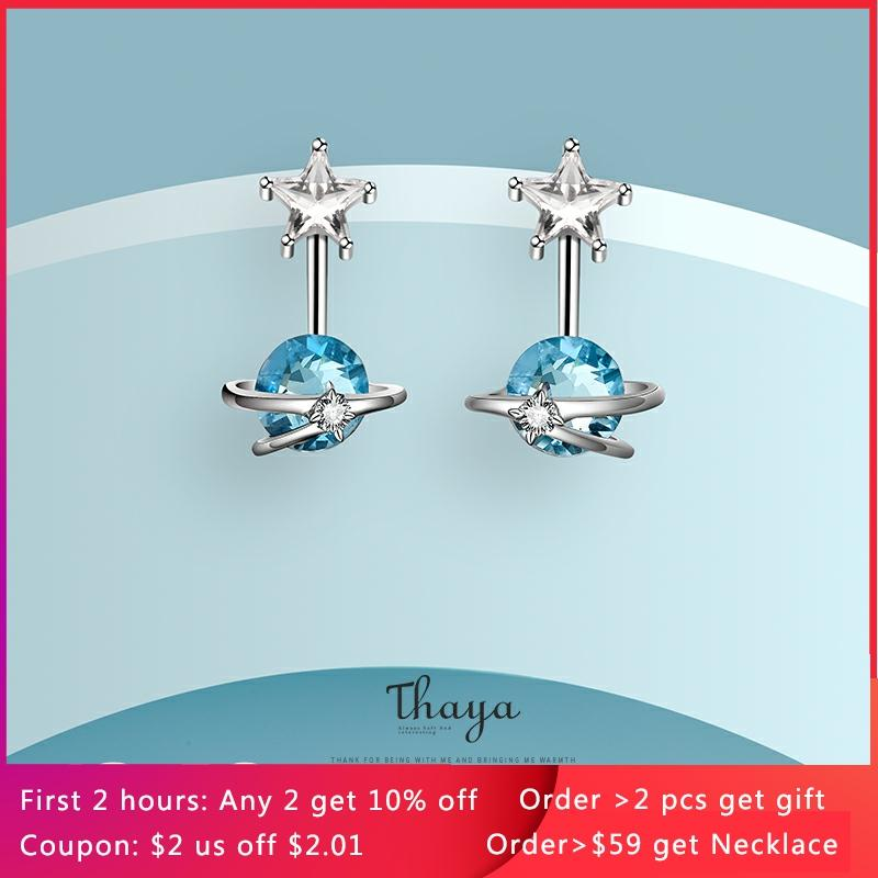 Thaya Fantasy Jewelry Design Earring 925 Silver Bohemia Blue Zircon Earring for Women Special Design Fashion Jewelry