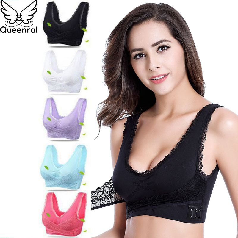 Queenral Sexy Women Bra Push Up Bralette Lingerie Underwear Brassiere Front Closure Bras For Women Big Size Sleep Bra Femme BH