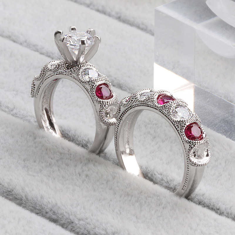 925 Silver Jewelry Color VVS1 Diamond Ring Set for Women Anillos Ruby Wedding Bizuteria 925 Sterling Jewelry Gemstone Ring