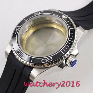 Image 4 - 40mm sapphire glass black ceramic bezel Watch Case set fit 2836 miyota 8215 MOVEMENT