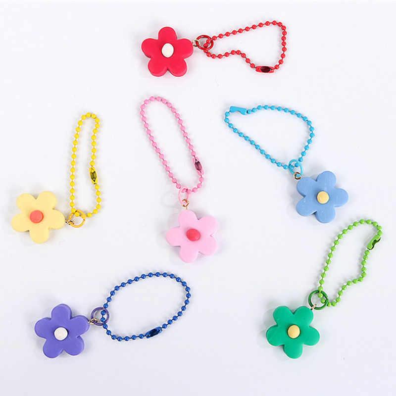 1PC Crianças Meninas Bonitos Rosa Chaveiro, Corrente Chave do Coração Para As Mulheres, Estilo Japonês Flor Jóias chaveiro, saco Acessório