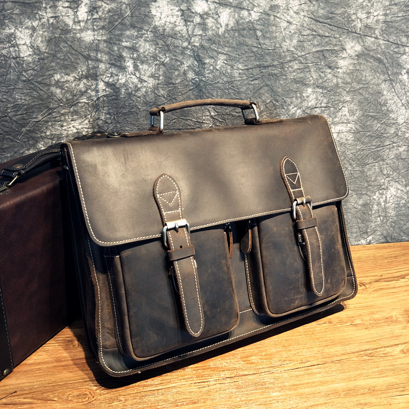 New Leather Briefcase Business Retro One-shoulder Diagonal Cross Handbag Top Leather Cowhide Crazy Horse Leather