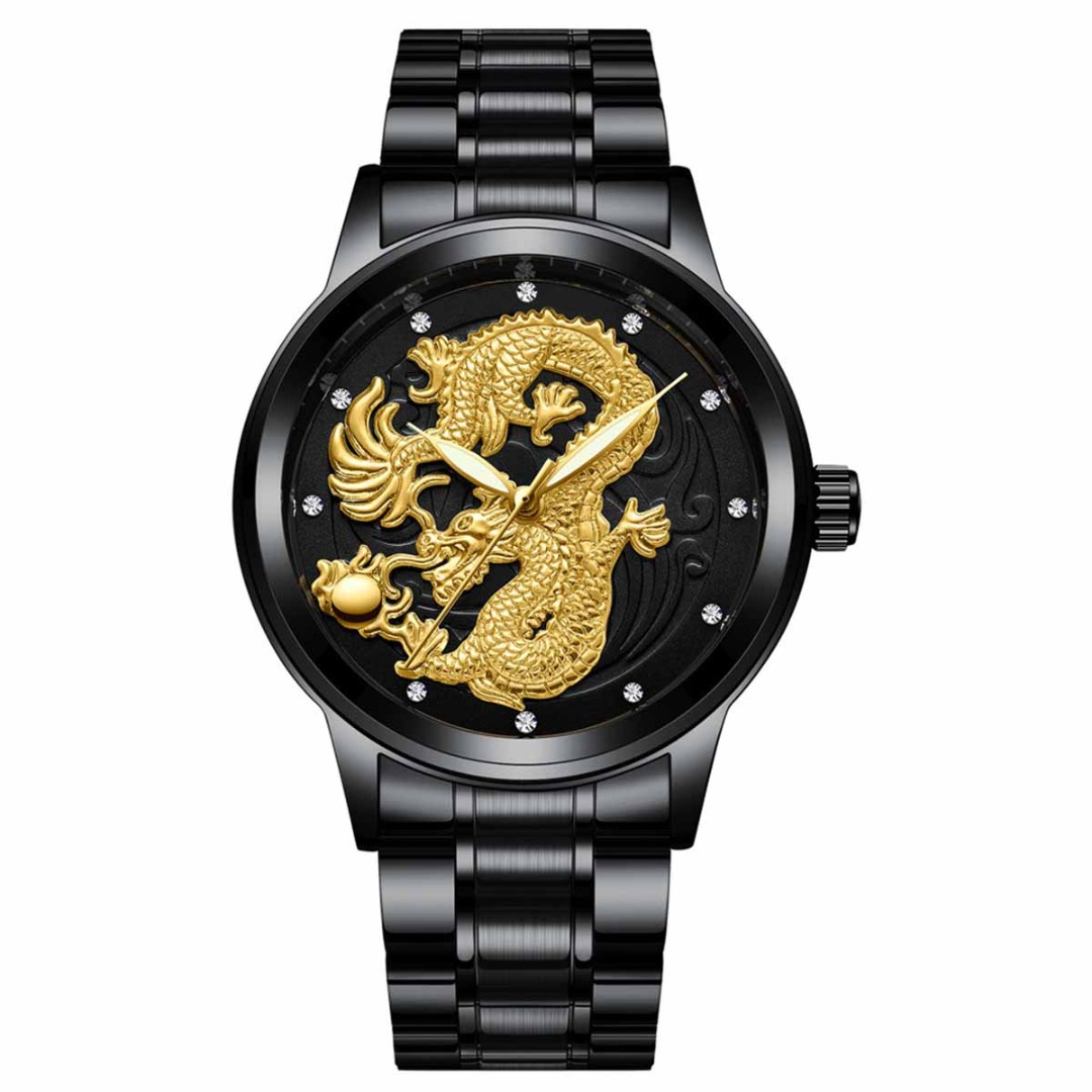 Women Quartz Watches Luxury Gold Phoenix Male Dragon Men Steel Watch Stainless Steel Strap Waterroof Luminous Watch Relogio