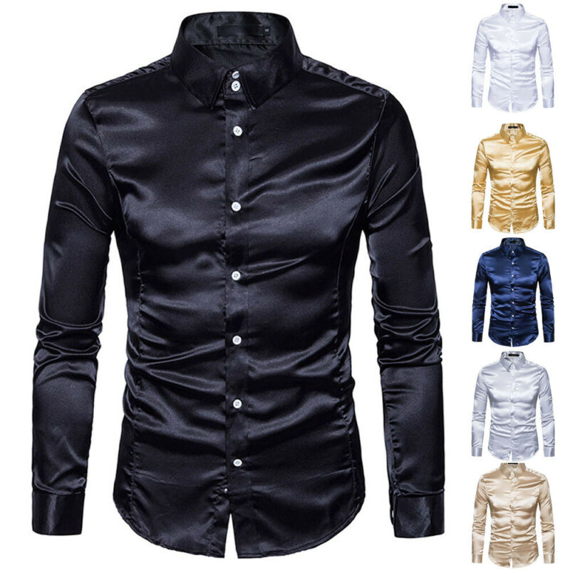 New Fashion Men s Silk Satin Shirts Long Sleeve Satin Smooth Tops Plain Business Ruffled Vintage