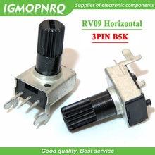10 pces rv09 horizontal lidar com comprimento 12.5mm 5k 0932 ajustável resistência 3pin b502 selado potenciômetro rotativo