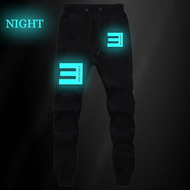 Eminem Hip Hop King Luminous Mens Pants Joggers Bodybuilding Sweatpants Men Fitness Pants Autumn Winter Sportswear Trousers