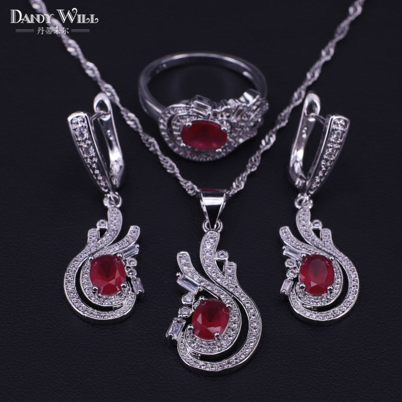Wedding-Jewelry-Sets Garnet Dubai Necklace/ring-Set Bridal 925-Sterling-Silver Women
