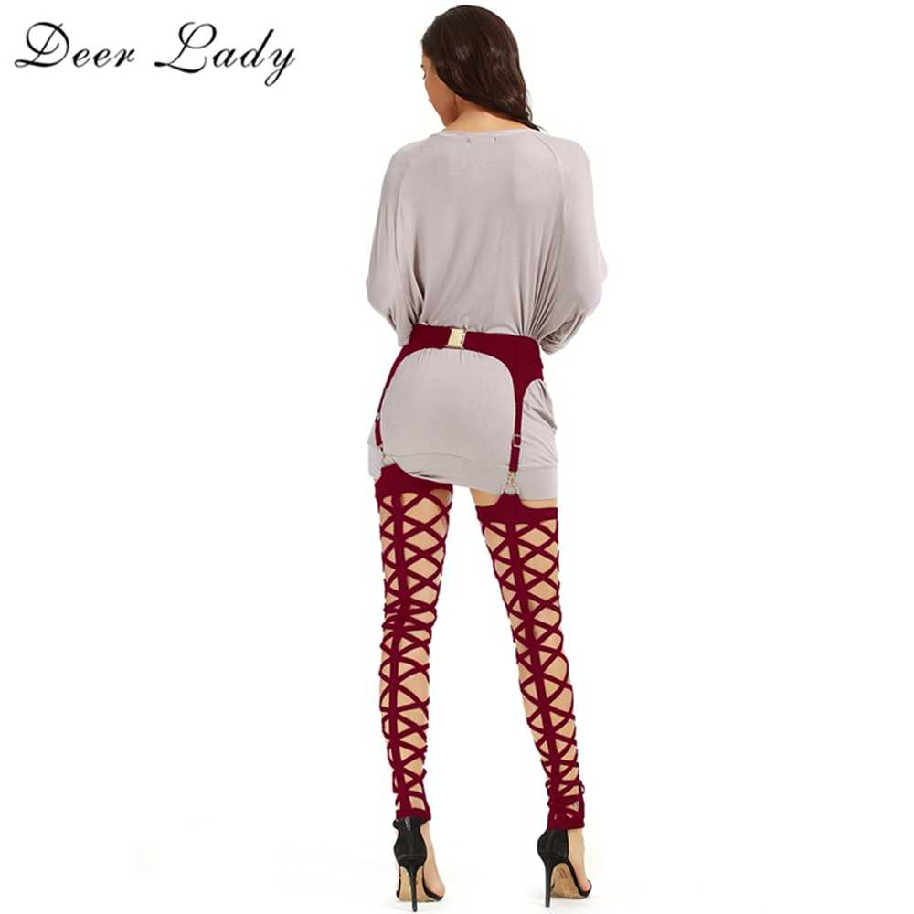 Deer Lady Winter Leggings Plus Size 2019 New Wine Red Bandage Leggings Cut Out High Waist Bandage Pants Women Bodycon Party