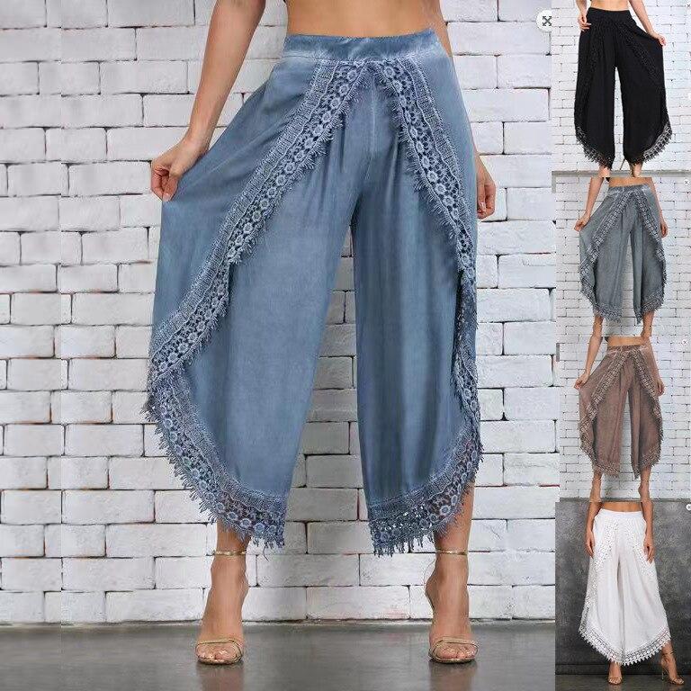 COLDKER Plus Size S-3XL Lace Beach Slight Summer Pants Women's Fashion Long Pant Loose Baggy Wide Leg Pants Sport Pants Trousers