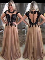 Champagne Prom Dresses Long Lace Appliques Illusion Top Cap Sleeves 2019 Evening Dress Formal Gowns Robe De Soiree