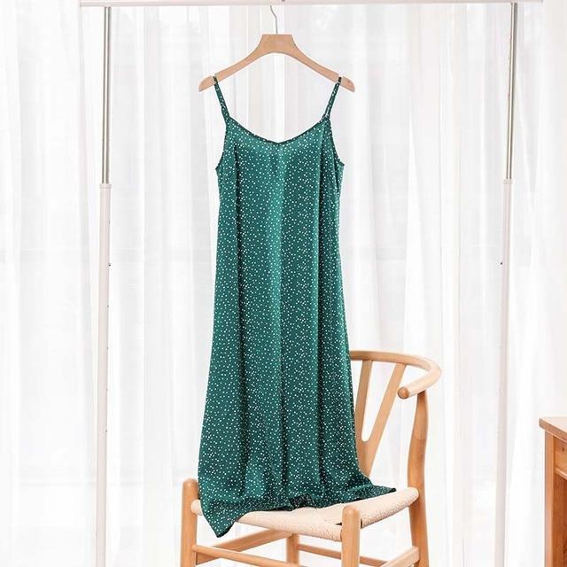 Fashion High Quality Women's Dress Summer Spaghetti Satin Long Woman Dress Very Soft Smooth Plus Size S-4XL M30262 3