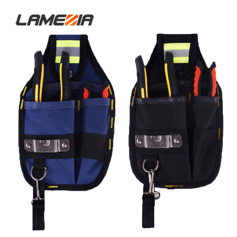 LAMEZIA High Quality Oxford Cloth Toolbag Thicken Design Wear Toolkit Waterproof Electrician Wide Tools Bag Belt Holder Pockets