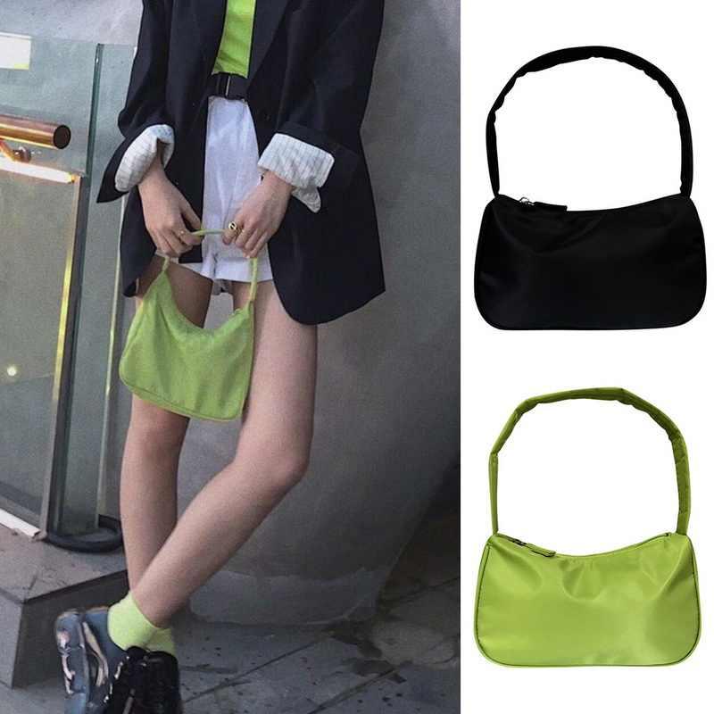 Litthing Mulheres Retro Vintage Designer De Mini Bolsa de Ombro de Nylon Casuais Bolsa Feminina Bolsa de Senhora Marca de Embreagem Pequena verde Abacate