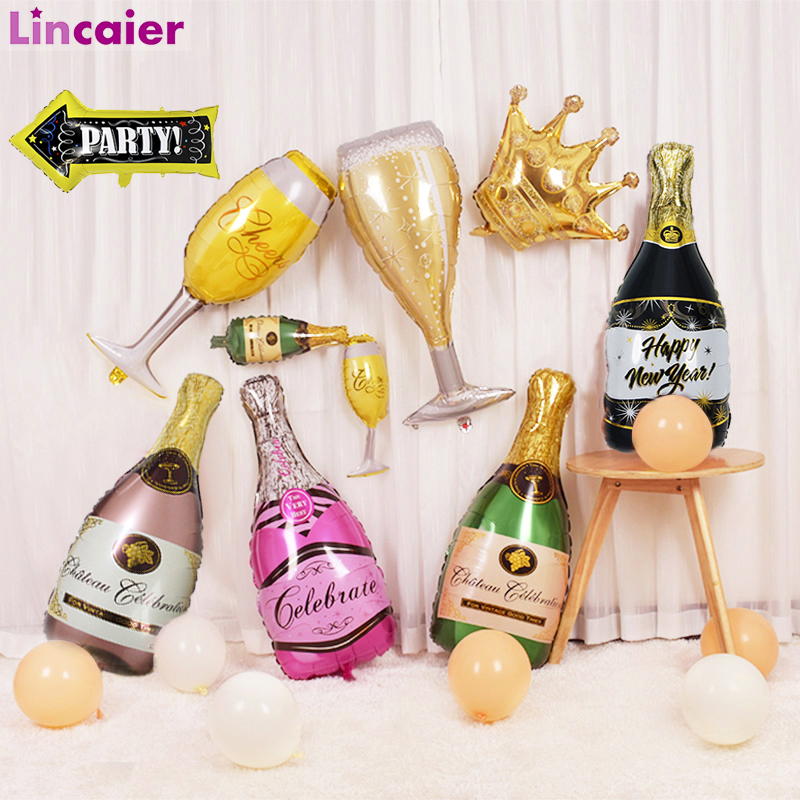 2pcs Big Champagne Balloons Graduation 2020 Party Decoration Gift Babyshower Boy Girl Just  Married 30th 40th Birthday Supplies