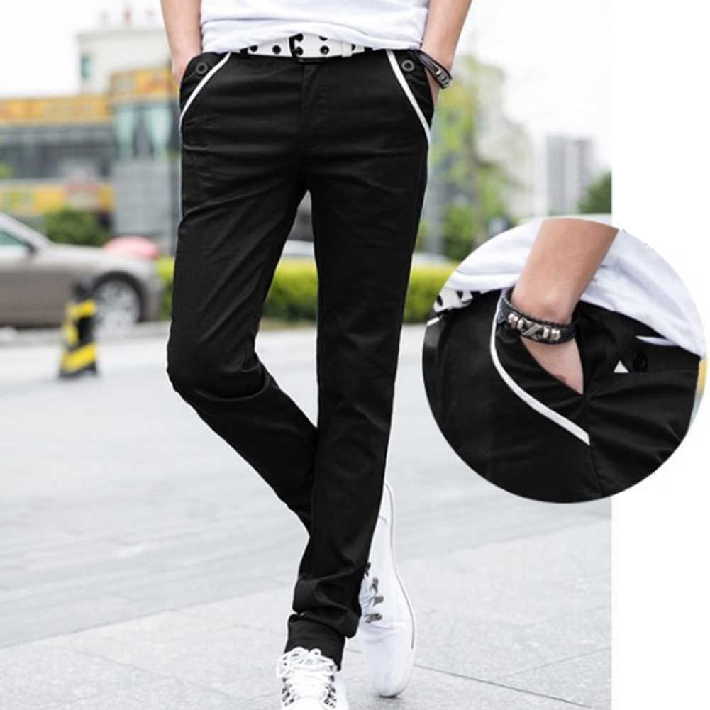 الرجال عادية بلون S-lim صالح مطاطا طويل بنطلون جيوب مستقيم السراويل الرجال السراويل البضائع السراويل الرجال sweatpants
