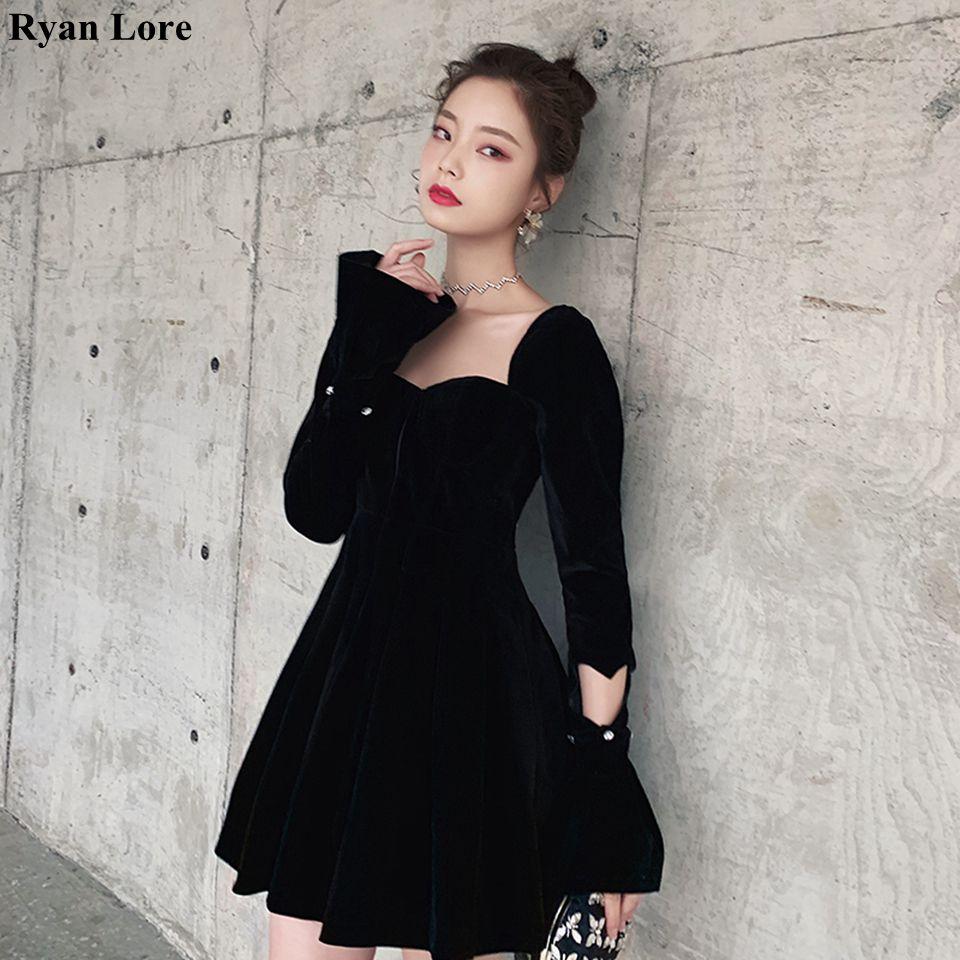 Black Cocktail Dresses 2020 Long Sleeves Short Prom Dresses Homecoming Vestidos De Gala Women Mini Party Night Graduation Gowns