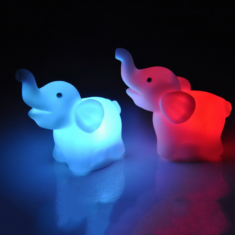 Novelty Cute Elephant Animals Colorful Lighting LED Night Light For Children 7 Colors Changeable Switch Night Lamp Led Bar Light