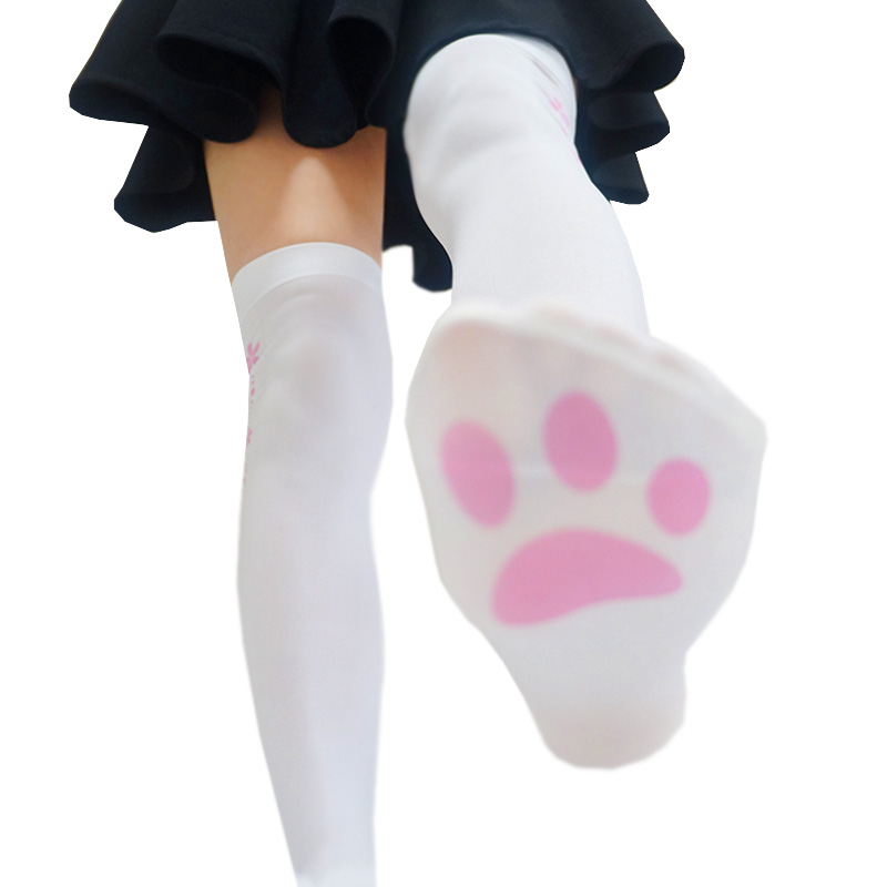 Japanese Girls Pink Pattern Cute Cat Claw Printed Stockings Lolita Velvet Overknee Stockings Cosplay Sweet Overknee Stockings
