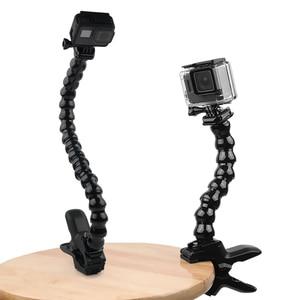 Image 1 - Gęsiej szyi ramię szyi statyw regulowany elastyczny zacisk klip dla GoPro Hero 9 8 7 6 5 czarny Sjcam Xiaomi Yi Camera akcesoria