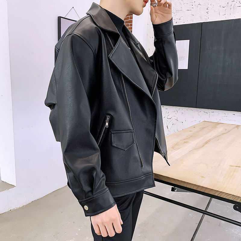 2019 Autumn Winter Men/'s PU Leather Casual Lapel Motorcycle Lapel Jacket Coat