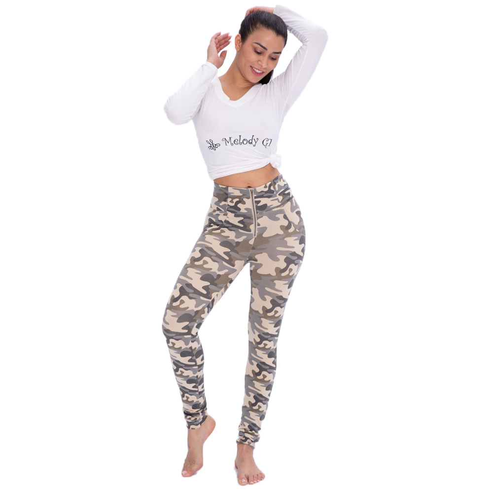 Melody Mid/High Rise Camo Leggings Plus Size Women Camouflage Push Up Pants Leggings
