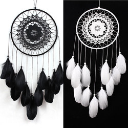 Черный, белый цвет «Ловец снов» в стиле «Ловец снов»; С перьями, ручной работы «Ловец снов» s на стене дома украшения комнаты # W0