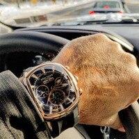 リーフ虎/rtビッグスポーツ時計男性発光アナログクロノグラフ腕時計トップブランドブルーローズゴールド腕時計レロジオmasculino RGA3069