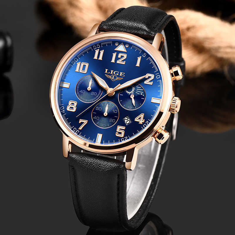 2019 New Men Watches Top Brand Luxury LIGE Sport Waterproof Quartz Watch Mens Casual Leather Date Chronograph Relogio Masculino