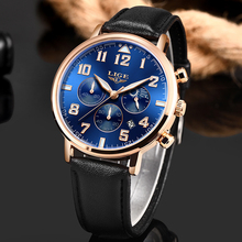 2019 New Men Watches Top Brand Luxury LIGE Sport Waterproof Quartz Watch Mens Casual Leather Date Chronograph Relogio Masculino new reef tiger designer sport watches men chronograph date calfskin nylon strap super luminous quartz watch relogio masculino