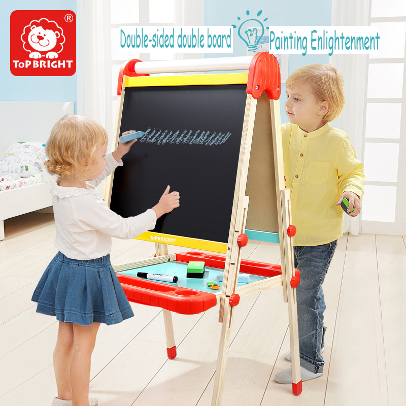 ToP BRIGHT Children Deluxe Standing Art Easel household bracket type double-sided magnetic writing Graffiti drawing board 36M+