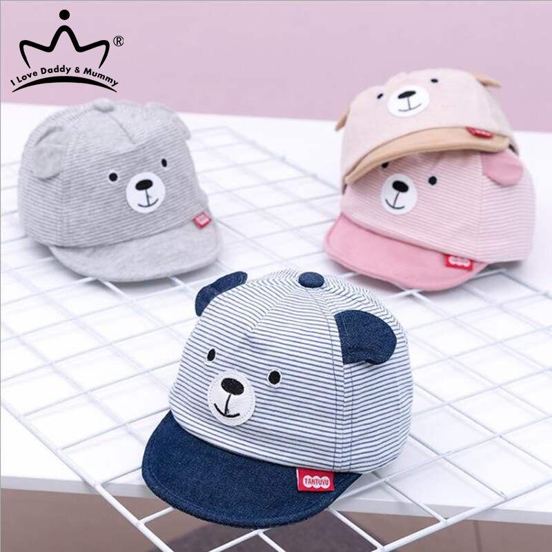 Детская шапка с мультяшным медведем, летняя, весенняя, регулируемая, женская, полосатая, хлопковая, Солнцезащитная шапка с ушками