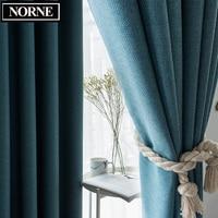 NORNE-cortina de oscurecimiento térmico para sala de estar, algodón y lino, Color sólido, estilo moderno