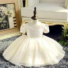 Новое Кружевное платье для маленьких девочек платья на день рождения для маленьких девочек 9 мес.-24 мес., 1 год Vestido, праздничное платье принцессы с цветочным узором для девочек на свадьбу