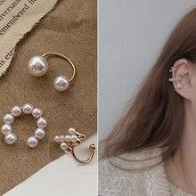 Pearl-Earrings Jewelry Ear-Cuff Cross-Clip No-Hole-Accessories Fake Piercing Women
