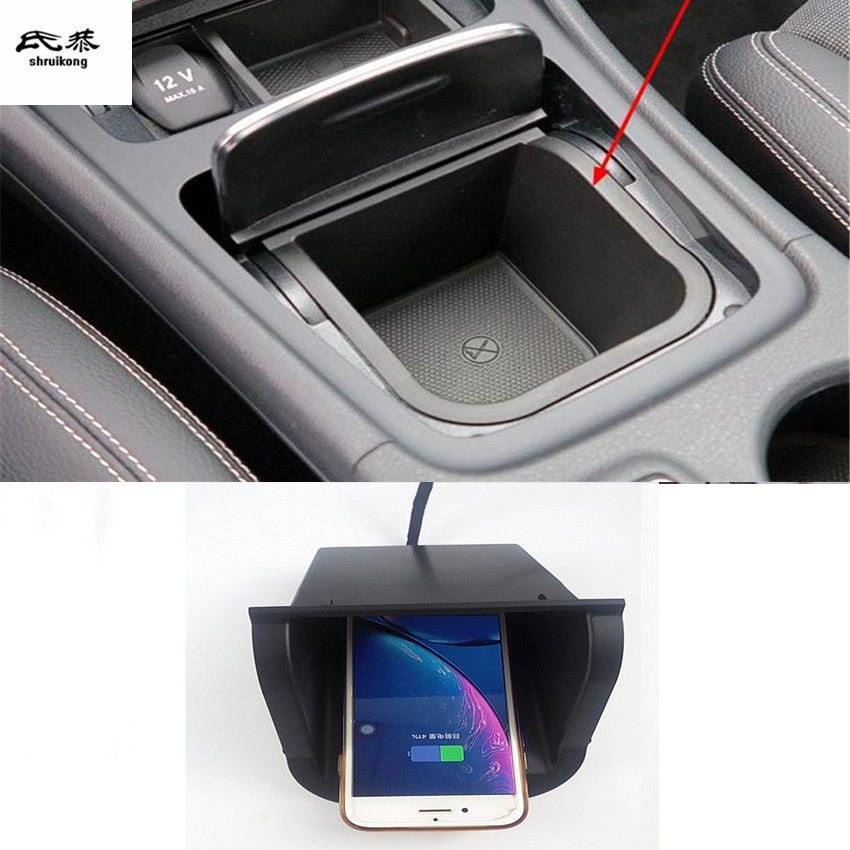 10W QI wireless charging phone charger fast charging panel phone holder for 2015-2018 <font><b>Mercedes</b></font> Benz GLA CLA Class <font><b>A</b></font> <font><b>180</b></font> 200 W176 image