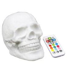 Home-Night-Light Skull-Head Patting Halloween-Decoration Usb-Charging Colorful Kids Atmosphere