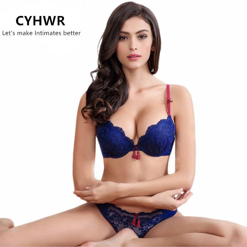 CYHWR Bra-Set Sexy Underwear Embroidery Push-Up-Bra Bow Floral Lace 3/4-Cup