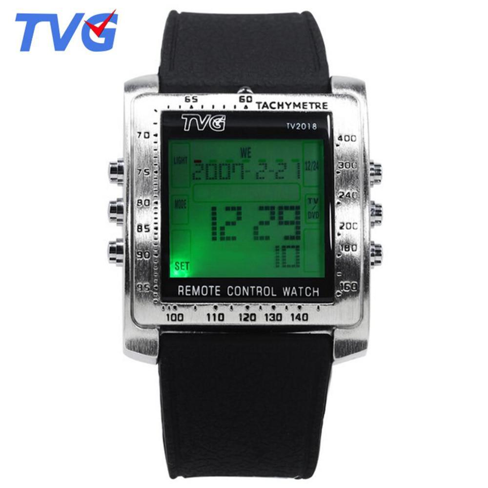Часы наручные мужские с резиновым ремешком, модные светодиодные цифровые многофункциональные электронные, с квадратным циферблатом, с пультом дистанционного управления|Цифровые часы| | АлиЭкспресс