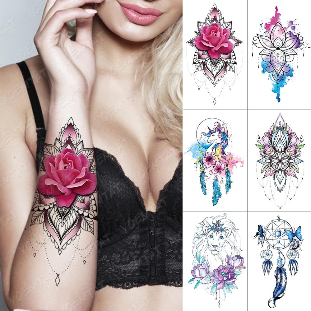 Waterproof Temporary Tattoo Sticker Dream Catcher Mandala Lotus Flash Tattoos Rose Flower Body Art Arm Water Transfer Fake Tatoo