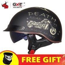 GXT DOT Certification casque de Moto rétro casque de Moto Scooter Vintage demi visage motard Moto Crash Moto casque Casco Moto