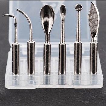 6pcs/set Wax Tip Pot for Dental Lab Electronic Waxer Wax Carving Knife Pen Pencil Dental Tools Tongue Scraper Double Pen 2016 new dental 4 well pot for melting lab equipment analog digital wax heater