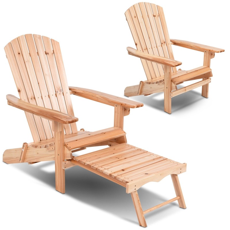 Patio Foldable Wood Adirondack Chair Footrest Stool Fir Wood Sun Loungers Chaise Lounge HW56973