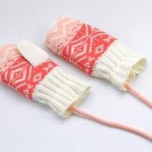 Новое теплое зимнее Вязание перчатки Дети Девушки Открытый флисовая подкладка варежки с шеи струны Новое поступление Горячая
