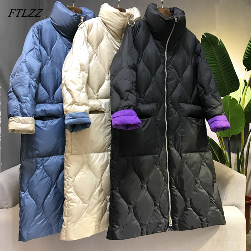 FTLZZ 2019 New Winter Long   Coat   Women Ultra Light White Duck   Down   Jacket Female Loose Zipper Jacket Windproof   Down     Coat