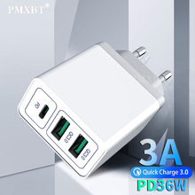 36W USB C Charger PD Quick Charge 3.0 For iPhone 11 Samsung Note 10 plus Mobile Phone 2 Ports USB Charger QC3.0 EU US UK Adapter tronsmart quick charge 3 0 36w 2 ports type a usb car charger