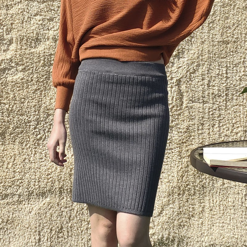 Sexy High Waist  Bodycon Skirts Wholesale Elegant Autumn Knitted Skirt Sexy Ladies Bag Hip Skirt Fashion
