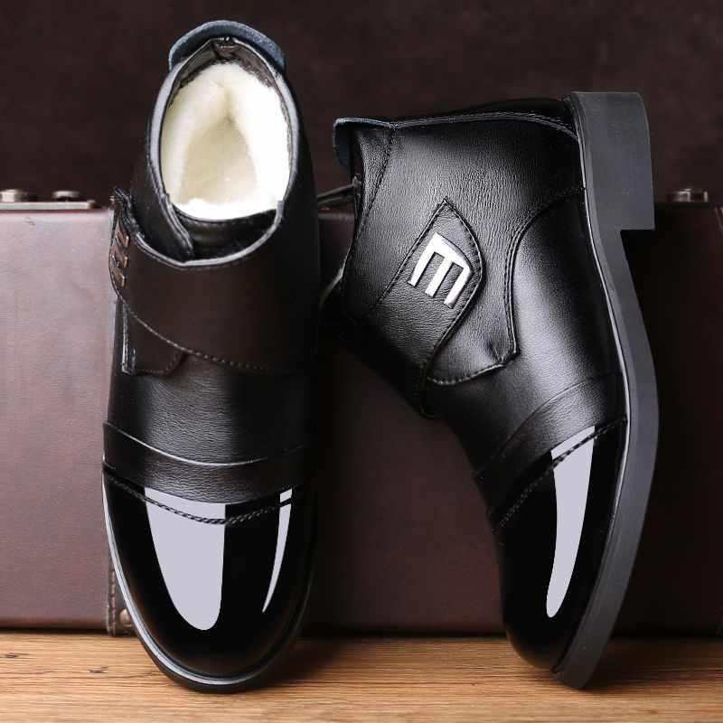 Mazefeng 2019 botas de invierno cálidas de alta calidad para hombre zapatos de cuero genuino botas de nieve impermeables de invierno para hombre talla grande para papá botas